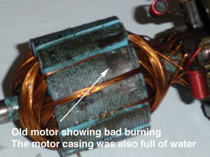 this picture of tim's wiper motor reveals the damage water can do - with  some damage to the windings and the rotor itself (the permanent magnets of  the