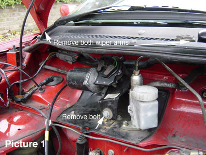 how to replace the wiper motor rh mgf ultimatemg com Chevy Wiper Motor Wiring Diagram Ford Wiper Motor Wiring Color